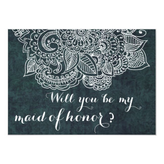 Shabby Chic Blue Vintage Paisley Maid Of Honor Card