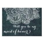 "Shabby Chic Blue Vintage Paisley Maid Of Honor 5"" X 7"" Invitation Card"