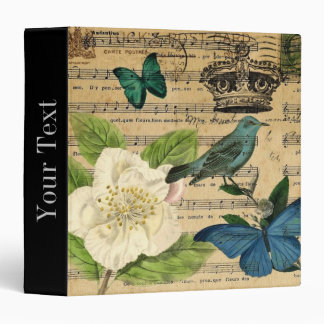 shabby chic botanical  french bird Camellia Binder