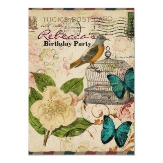 shabby chic botanical  french bird Camellia Card