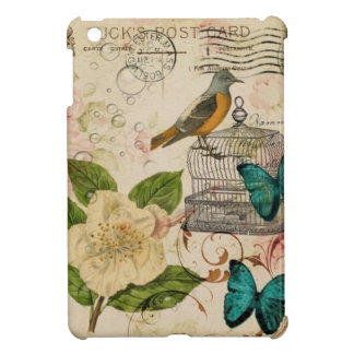 shabby chic botanical  french bird Camellia iPad Mini Covers