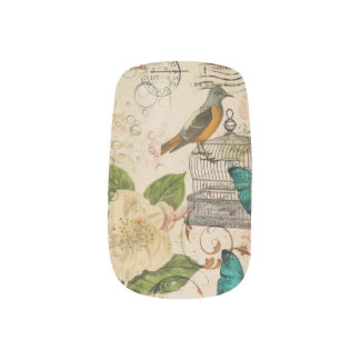 shabby chic botanical  french bird Camellia Minx Nail Art