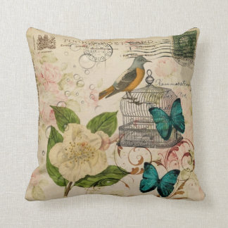 shabby chic botanical  french bird Camellia Throw Pillow