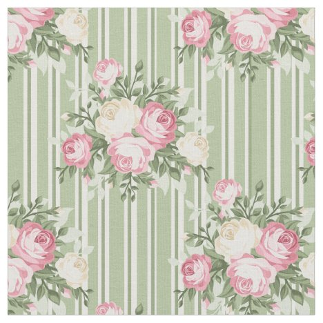 Shabby Chic bouquet of roses on green striped back Fabric