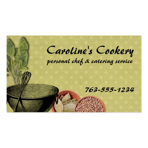 shabby chic bowl whisk herbs spices chef biz cards