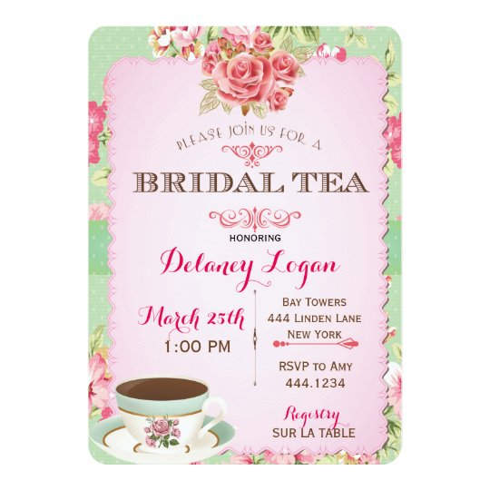 shabby chic bridal shower tea invitation