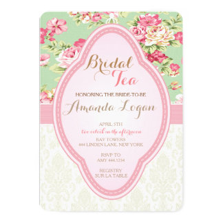 Shabby Chic Bridal Shower Tea Party Invitations
