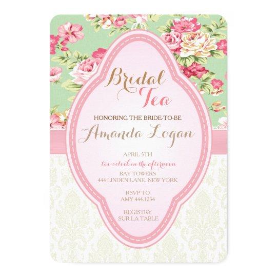 Shabby Chic Bridal Shower Tea Party Invitations | Zazzle