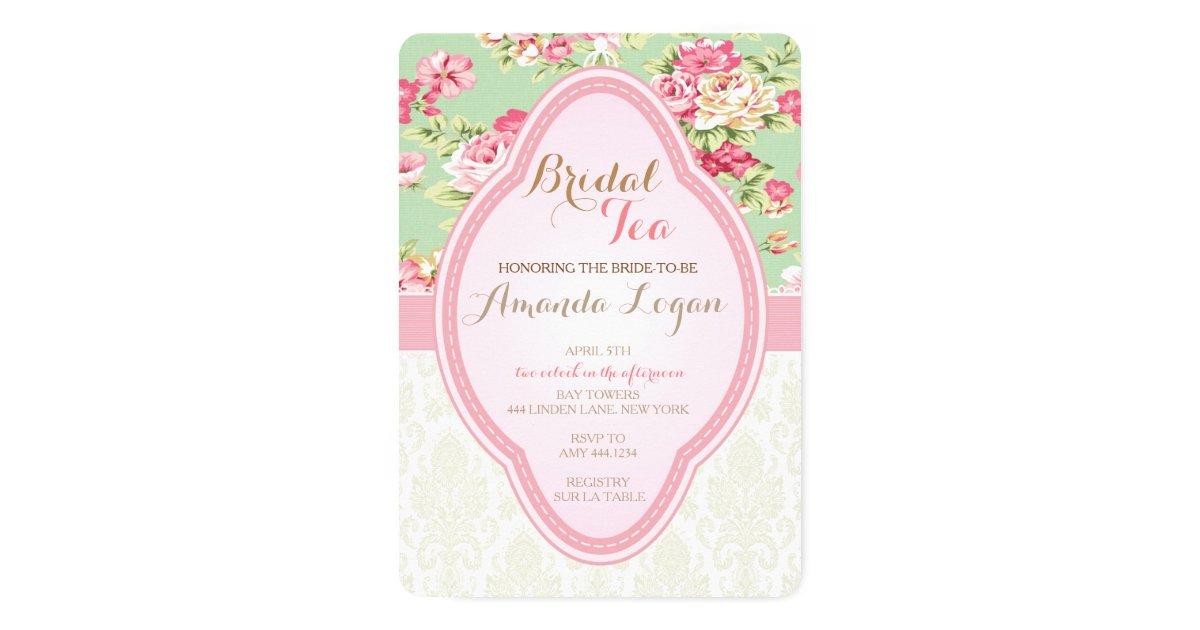 Shabby Chic Bridal Shower Tea Party Invitations   Zazzle.com