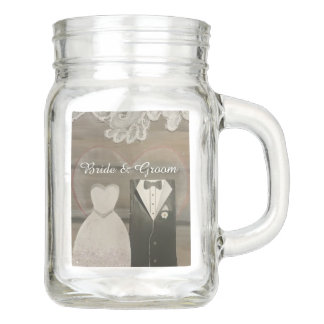 Shabby Chic Bride & Groom Mason Jars, 12 oz. Mason Jar