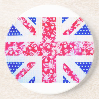 Shabby Chic British Flag - Polka Dots and Floral Coaster