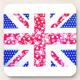 Shabby Chic British Flag - Polka Dots and Floral Drink Coaster