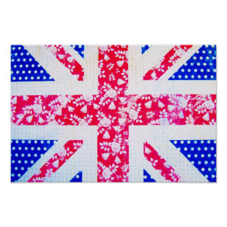 Shabby Chic British Flag - Polka Dots and Floral Poster