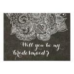 Shabby Chic Brown Vintage Paisley Bridesmaid 5x7 Paper Invitation Card