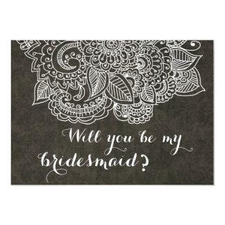 Shabby Chic Brown Vintage Paisley Bridesmaid Card