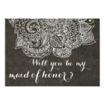 Shabby Chic Brown Vintage Paisley Maid Of Honor 5x7 Paper Invitation Card
