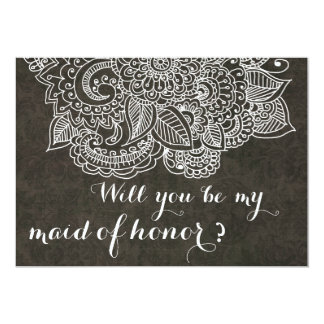 Shabby Chic Brown Vintage Paisley Maid Of Honor Card