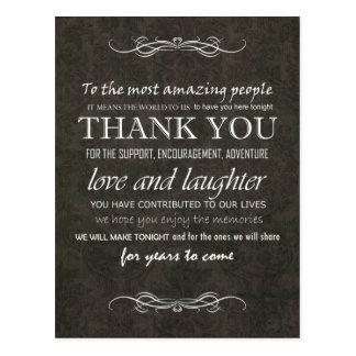 Shabby Chic Brown Vintage Wedding Thank You Postcard