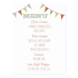 Shabby Chic Bunting Wedding Menu Postcard