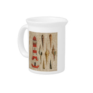 shabby chic burlap coastal seashell lighthouse drink pitcher