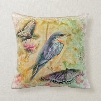 Shabby Chic Butterfly and Bluebird Throw Pillow