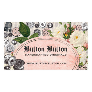 Shabby chic buttons bobbins sewing business cards