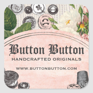 Shabby chic buttons bobbins sewing gift tag label