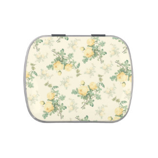 Shabby chic candy tin pill box floral yellow roses jelly belly tins