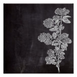 shabby chic chalkboard floral french country poster
