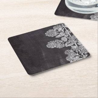 shabby chic chalkboard leaves french country square paper coaster