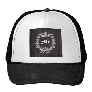 shabby chic chalkboard Mr and Mrs Trucker Hat