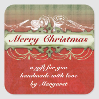 Shabby chic chandelier Christmas holiday sewing Square Sticker