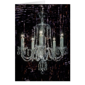 Shabby Chic Chandelier on Oil Painted Wood Card