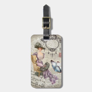 shabby chic chandelier Vintage victorian lady Bag Tag