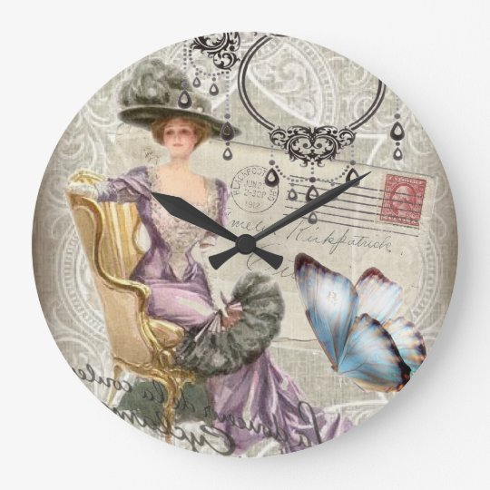shabby chic chandelier Vintage victorian lady Large Clock