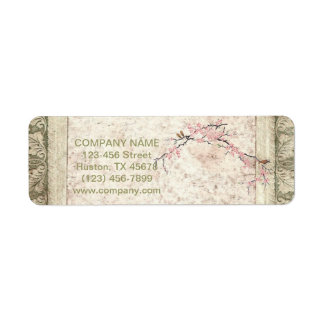 shabby chic cherry Blossom floral Country vintage Return Address Label