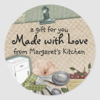 Shabby chic cherry icebox cooking baking gift tag round sticker