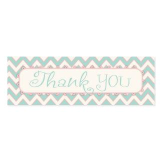 Shabby Chic Chevron Thank You Gift Tag Mini Business Card
