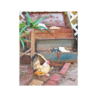 Shabby Chic Chicken Wall Art Gallery Wrapped Canvas