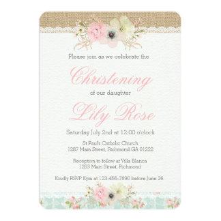 Shabby Chic Christening/Baptism Invitation