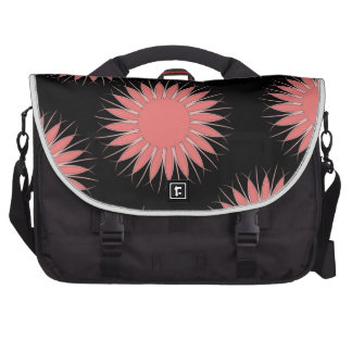 Shabby Chic Coral Abstract Flowers Laptop Bag