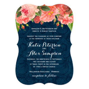 Shabby Chic Coral and Navy Blue Wedding Invitation 5