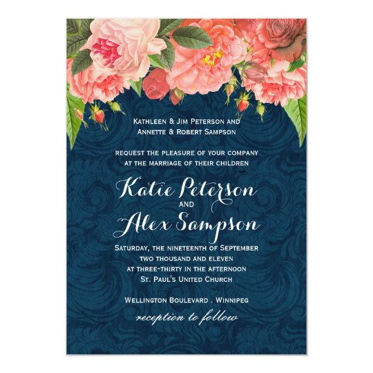 Coral And White Wedding Invitations: Shabby Chic Coral And Navy Blue Wedding Invitation