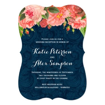 colourfuldesigns Shabby Chic Coral and Navy Reception Only Invite