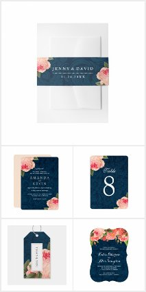 Shabby Chic Coral and Navy Blue Wedding Suite