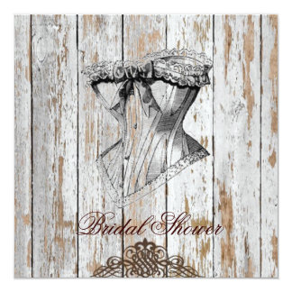shabby chic corset wood country bridal shower card