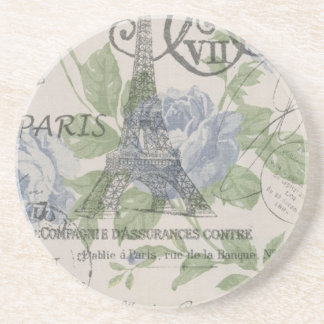 shabby chic country blue floral Paris eiffel tower Sandstone Coaster