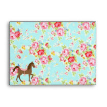 Shabby Chic Cowgirl Floral Pony Envelope