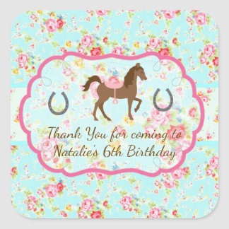 Shabby Chic Cowgirl Floral Pony Favor Tag Sticker