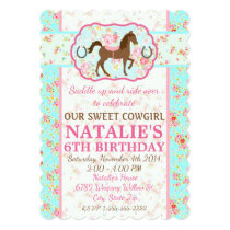 Shabby Chic Cowgirl Floral Pony Invitation